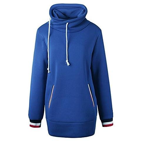 QIYUN.Z Frauen Casual Mock Hals Streifen Manschette Pullover Sweaterhirt Lange Tops