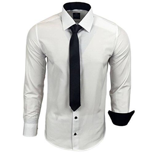 R-44-KR Herren Kontrast Hemd Business Hemden mit Krawatte Hochzeit Freizeit Fit, Farbe:Weiss/Schwarz;Größe:2XL