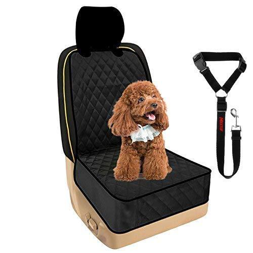 Hunde Vordersitz, MAXTUF Autositz mit Sicherheitsgurt Wasserdicht Schutzdecke Autodecke Autoschondecke für Fahrersitz Beifahrersitz Haustier Katze Pet