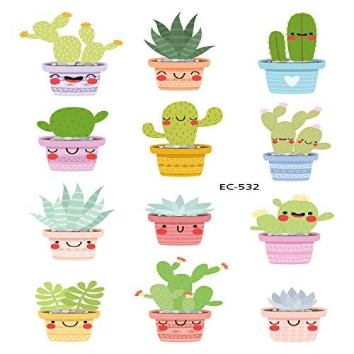 adgkitb 5 stücke Cartoon Tattoo Aufkleber Für Kinder Kaktus Gefälschte Tatoo Kinder Buchstaben Zahlen Tatuajes Nettes Monster EC-532 12x7,5 cm