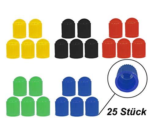 Zymbala 25x Auto Ventilkappen aus Kunststoff in 5 Farben. Passt auf jedes gängige Kfz Ventil (Schraderventil). Reifenventilkappe für Fahrrad, PKW, Motorrad, Moped Schubkarren LKW u.v.m. (25)