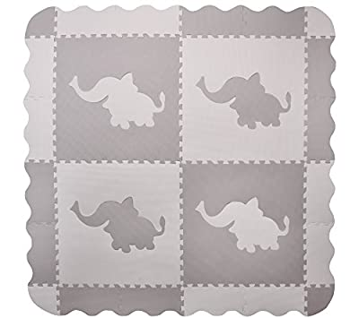 4 Large Grey Interlocking Foam Baby Play Mat with Elephants Tiles - Play Mats with Edges. Each Tile 60 x 60cms. Total 1.5m2.