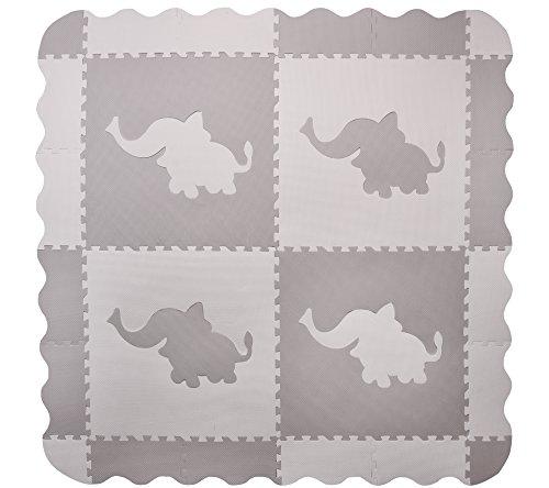 4 azulejos grandes de elefantes de juego de bebé de espuma gris...