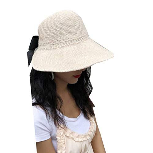 Jinzuke Frauen Mädchen Große Krempe Sonnenhut Faltbarer Strohhut Hohle Sonnenschutz Cap-Dame-Sommer-Bogen Woven Kopfbedeckung Woven Bogen