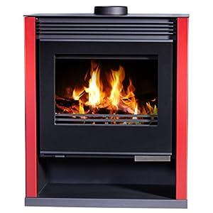 Estufa de leña, color rojo, quemador de leña, estufa de leña, chimenea grande, 13/21 kW, potencia de calefacción
