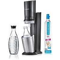 Sodastream Crystal 2.0Gasatore per acqua del rubinetto, bottiglia in vetro lavabile in lavastoviglie, incl. 1cilindro e 2caraffe di vetro, Acciaio spazzolato, Schwarz/Titan, 22 x 11 x 42 cm