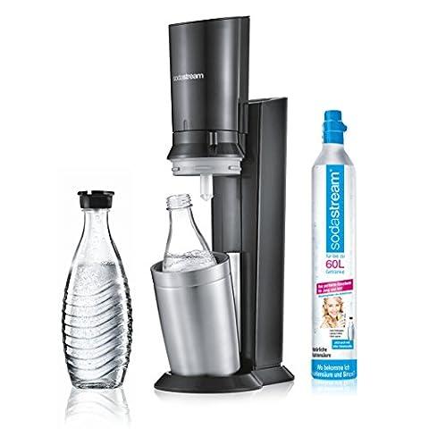 SodaStream CRYSTAL 2.0 Glaskaraffen Wassersprudler zum Sprudeln von Leitungswasser, mit spülmaschinenfester Glasflasche für Sprudelwasser. inkl. 1 Zylinder und 2 Glaskaraffen 0,6l; Farbe: