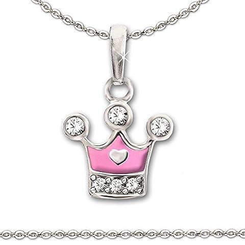 CLEVER SCHMUCK-SET Silberner Anhänger kleine Prinzessinnen Krone 9 x 8 mm teils rosa pink lackiert mit Zirkonias und Mini Herz glänzend sowie Kette Anker 40 cm STERLING SILBER 925 für Kinder