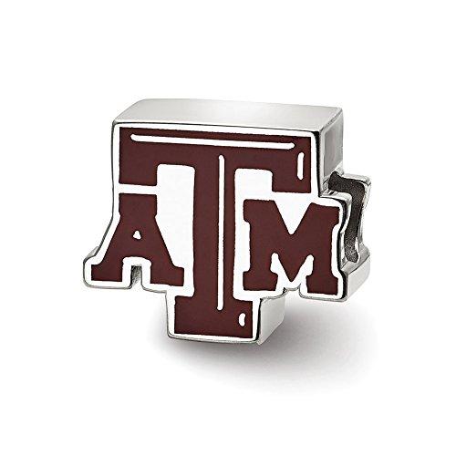 Lex & LU logoart Sterling Silber Texas A & M University ATM emailierten Logo Bead Texas A&m University Atm