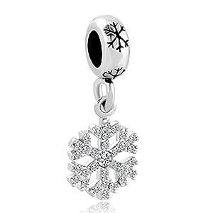 Pugster, Charm-Perle, Amulett für Pandora-Armbänder, Schneeflocken-Design, Anhänger mit Geburtsstein