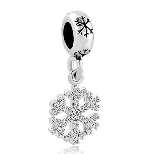 Fit Pandora Pugster Charm Schneeflocke Charm-Anhänger kristallklarer Geburtsstein