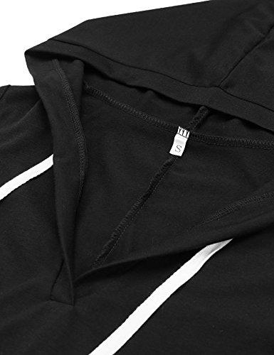 cooshional Damen Pullover Kleid Sweatshirt Hoody Pulli Double Split Hoodie Pockets Schwarz