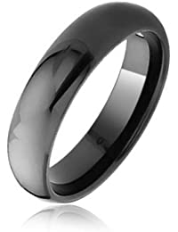Bling Jewelry Tungsten Domo negro 6mm Anillo de banda de boda