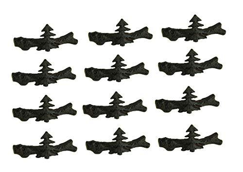 DeLeon Collections Schubladenzieher, Metall, Gusseisen, Kiefernbaum, 12,7 x 5,7 x 5,1 cm, Braun, 12 Stück