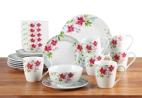 24 Piece Lily Porcelain Dinner Set
