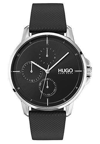 Hugo Herren-Armbanduhr Analog Quarz One Size, schwarz, schwarz