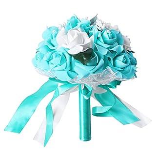 TOOGOO Artificial Flor de Espuma Ramo Rosas de Espuma Ramo de Boda Ramo de Novia Decoración de Encaje Perlas Naturales Flores de Boda Blanco y Azul Azulado
