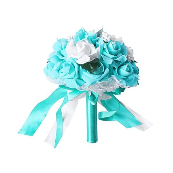 TOOGOO Artificial Flor de Espuma Ramo Rosas de Espuma Ramo de Boda Ramo de Novia Decoración de Encaje Perlas Naturales…