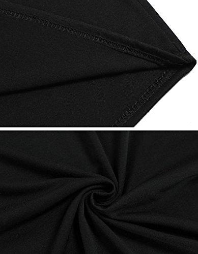 CRAVOG Damen Midi Bodycon Langarm Kleider Stretch Abendkleid kurz Schwarz