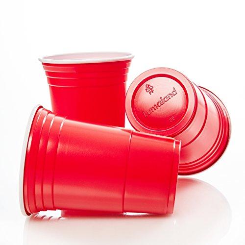 Lumaland Partybecher Rot 50 Stück 16 oz Beer Pong Trinkbecher Extra stark
