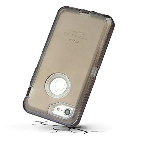 """xhorizon [PC+TPU] 3 Schichte Schutz-Hybrid-Rüstung haltbarer Stoßdämpfender gegen hohem Schlag aus starkem Gummi hybride verteidige Gehäuse-Bucht für iPhone 7 [4.7""""] schwarz"""