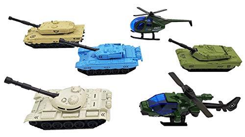 Yijiaoyun veicoli militari 6 pack lega in metallo modelli di veicoli dell'esercito giocattoli per auto mini giocattolo dell'esercito includi carri armati ed elicottero militare playset per bambini