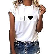 30fcf7c3d18 Camiseta de Mujer Manga Corta Corazón Impresión Blusa Camisa Cuello Redondo  Basica Camiseta Suelto Verano Tops