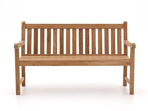 Stabile Gartenbank Sunyard Wales aus massivem, unbehandeltem Holz, Teakholz 3 Sitzer 150 cm - 3