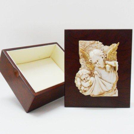 Bomboniere portagioie in legno con angelo in resina