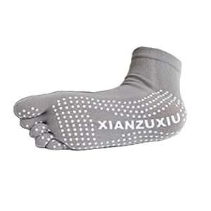 Femmes 2paires de chaussettes de yoga antidérapant orteil complet avec grip de Lot, gris