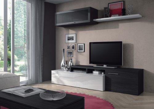 Eglemtek parete attrezzata salvador soggiorno salotto, mobile sala da pranzo in legno, parete attrezzata mobile tv con mensola, 200 x 43 x 41/34 cm bianco e grigio cenere
