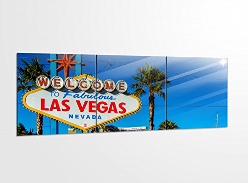 Acrylglasbilder 3 Teilig 150x50cm Las Vegas schild Welcome USA Palmen Druck Acrylbild Acrylbilder Bilder Acrylglas 14?5969, Acrylglas Größe 6:BxH Gesamt 150cmx50cm