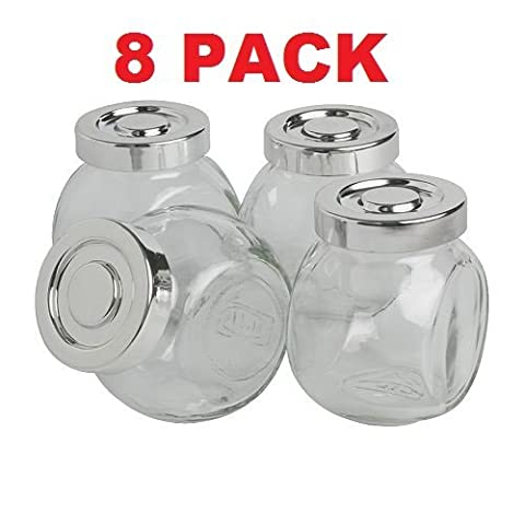 Ikea Glass Spice Storage Jar (8 Pack) Chrome Color Lid