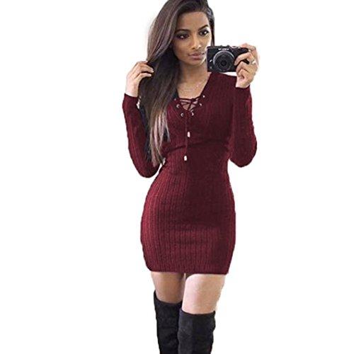 Damen Pullover Kleid,Dasongff Mode Frauen Winter Langarm Gestrickt Pullover Kleid V-Ausschnitt Slim-Fit Stretch Strickkleid Pullikleid (XL, Weinrot)