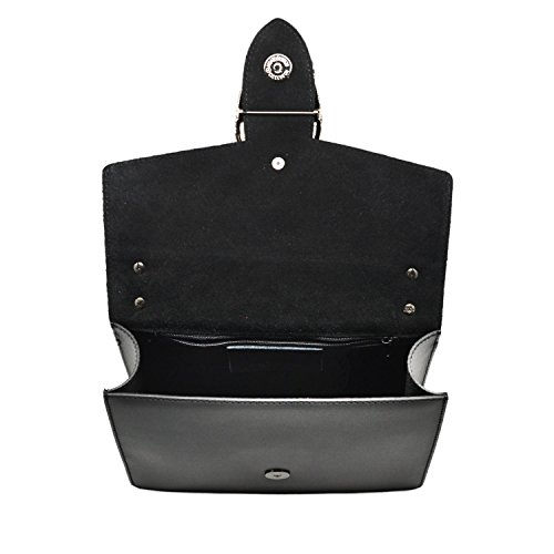 RONDA Borsa pochette a spalla tracola catena e accessori in metallo pelle liscia e pattina camoscio Made in Italy tortora chiaro mini