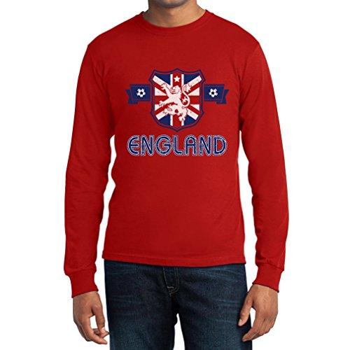 England GB Wappen Fussball Fanartikel EM WM Langarm T-Shirt Rot