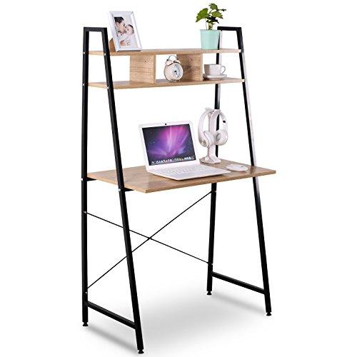 WOLTU TSB05hei Schreibtisch Computertisch Büromöbel PC Tisch Bürotisch Arbeitstisch aus Holz und Stahl, mit Ablage, ca. 84x46x140 cm