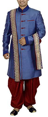 Sargam Nx Men's Silk Sherwani (Blue, 40)
