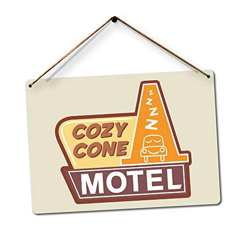 PotteLove Cozy Cone Motel-Art Disney Lightning Pixar McQueen Dekoration, lustiges Aluminium-Blechschild, 20,3 x 30,5 cm