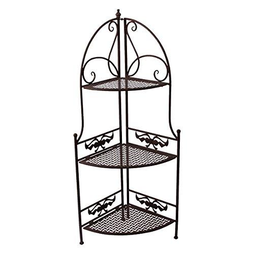 PrimoLiving Garten Eckregal im Antik-Look P-508 braun - Metall-eckregal