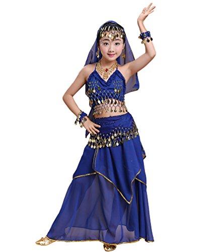 Anguang Mädchen Bauchtanz Rock Set Kinder Halloween Tanz Kostüm Saphir#1 ()