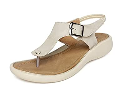 Vendoz Women's Cream Sandals(36 Eu)