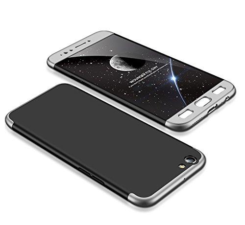 MEVIS Oppo F3 Plus Hülle,360 Grad hülle Fullbody case+(1*Hartglas Glasfilm Schutzfolie) 3 in 1 Ultra dünner pc Hardcase Scratch und Shockproof-Silber schwarz