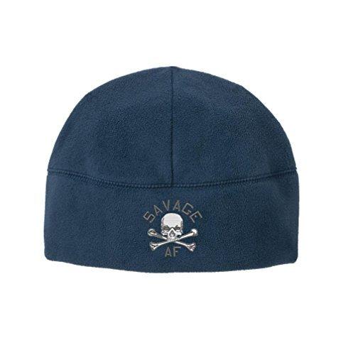 USAMM Original Savage AF Skull and Crossbones Veteran Embroidered Beanie Watch Cap (Blue)