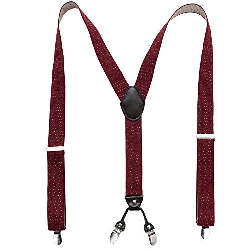Wein-clip (Herren Hosenträger elastisch und längenverstellbar - 35mm breit 4 Clips mit Leder in Y Form (Wein rot Tupfen))