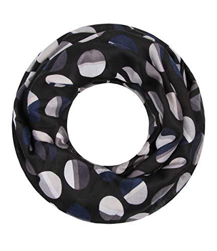Majea NEUE Kollektion Damen Loop Schal viele Farben Muster Schlauchschal Halstuch in aktuellen Trendfarben (schwarz 13)