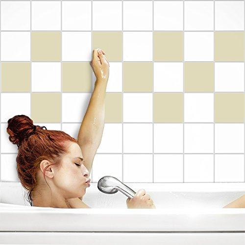 Fliesenaufkleber für Küche und Bad | Fliesenfolie für 10x10cm Fliesen | einfarbig elfenbein matt | 402 Stück | Klebefliesen günstig in 1A Qualität von PrintYourHome