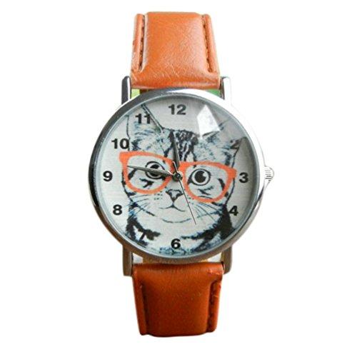 Lucky mall Katze Muster Lederband Analoge Quarzuhr Armbanduhr, Spektakel Katze Gürtel Uhr