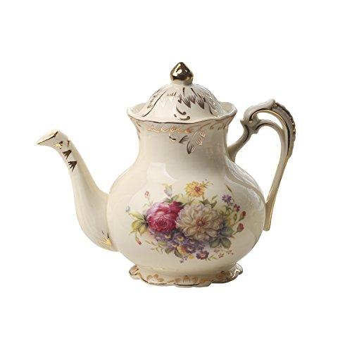 Tetera de cerámica con diseño de arbustos de flores de Yolife, color marfil, diseño floral vintage, 847 ml