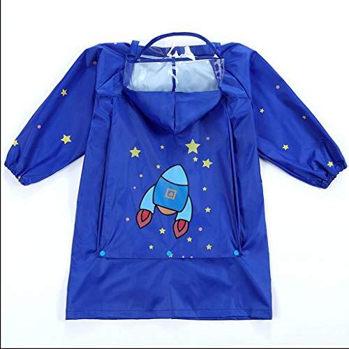 BAIF Regenmäntel Kinder Jungen Mädchen Kindergarten Große Lätzchen Schüler Mit Schultaschen Wasserdichter Poncho (Farbe: D-M)